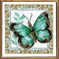 "Вышивка крестом ""Бабочка салатная"" (100х100 мм)"