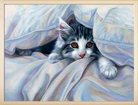 """Алмазная вышивка-мозаика """"Кот под одеялом"""" (400х300 мм)"""