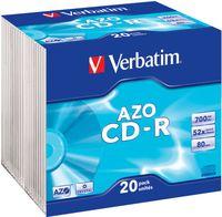 Диск CD-R 700Mb 52х Slim Crystal AZO Verbatim (в упаковке 20 штук)