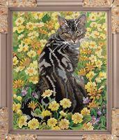 """Вышивка бисером """"Кот в цветах"""" (240х190 мм)"""