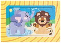 """Пазл-рамка """"Слонёнок и львёнок"""" (4 элемента)"""