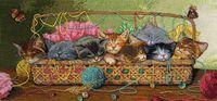 """Вышивка крестом """"Новорожденные котята"""" (арт. DMS-35175)"""