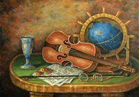 """Алмазная вышивка-мозаика """"Скрипка и глобус"""" (500х350 мм)"""