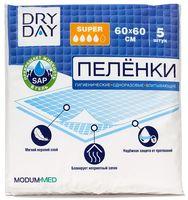 """Пеленки одноразовые детские """"DryDay"""" (5 шт.; 600х600 мм)"""