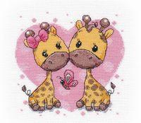 """Вышивка крестом """"Влюбленные жирафики"""" (150х150 мм)"""