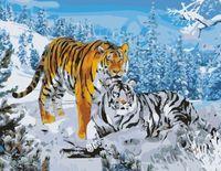 """Картина по номерам """"Два тигра"""" (400x500 мм; арт. MG194)"""