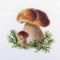 "Вышивка крестом ""Белые грибы"" (100х100 мм)"