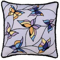 """Вышивка декоративными швами """"Подушка. Бабочки"""" (330х330 мм)"""