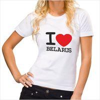 "Футболка женская Vitaem ""I LOVE BELARUS"" (белая) (L)"