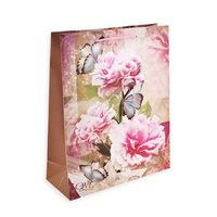 """Пакет бумажный подарочный """"Цветы"""" (22x18x8 см)"""