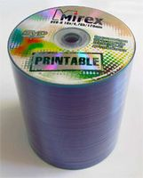Диск DVD-R 4.7Gb 16x Mirex Printable bulk 100