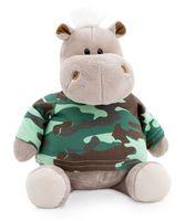 """Мягкая игрушка """"Бегемот в армейской футболке"""" (20 см)"""
