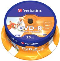 Диск DVD-R 4.7 Gb 16x Verbatim Wide Inkjet Printable CakeBox 25