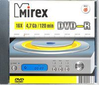Диск DVD-R 4.7Gb 16x Mirex slim (в упаковке 5 штук)