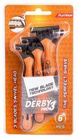 """Станок для бритья одноразовый """"Derby PRO 3"""" (6 шт)"""