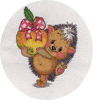 """Вышивка крестом """"Ежик с яблоком"""""""