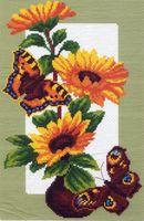 """Канва с нанесенным рисунком """"Подсолнухи и бабочка"""""""