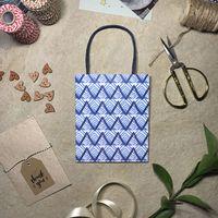 """Пакет бумажный подарочный """"Синие зигзаги"""" (15x18,5x7 см)"""