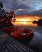 """Картина по номерам """"Закат над водной гладью"""" (400х500 мм)"""