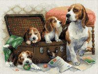 """Вышивка крестом """"Собачье семейство"""" (арт. 1328)"""