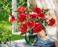 """Картина по номерам """"Жанна Когай. Маки на окне"""" (400х500 мм)"""