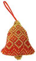 """Вышивка бисером """"Новогодняя игрушка. Красный колокольчик"""" (95х80 мм)"""
