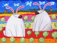 "Картина по номерам ""Веселые зайцы"" (300х400 мм)"