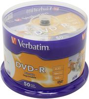 Диск DVD-R 4.7Gb 16x Verbatim Wide Inkjet Printable CakeBox 50
