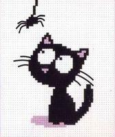 """Вышивка крестом """"Кот с паучком"""""""