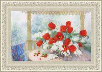 """Вышивка бисером """"Тюльпаны и черёмуха"""" (260х395 мм)"""