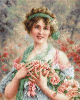 "Вышивка крестом ""Девушка с розами"" (285х355 мм)"