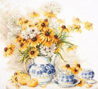 """Вышивка крестом """"Цветочный чай"""" (400х350 мм)"""