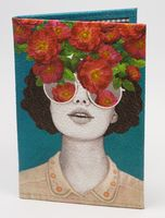 """Обложка на паспорт """"Девушка и цветы"""""""