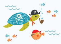 """Открытка """"Черепаха-пират"""""""