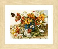 "Вышивка крестом ""Нарциссы и тюльпаны"" (240х260 мм)"