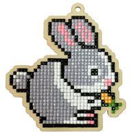 "Алмазная вышивка-мозаика ""Брелок. Зайчик с морковкой"" (86х96 мм)"
