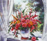 "Вышивка бисером ""Цветы у окна"" (400х360 мм)"