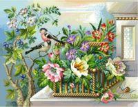 """Канва с нанесенным рисунком """"Цветы в саду"""""""