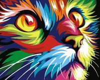 "Картина по номерам ""Радужный кот"" (210х297 мм)"