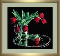 """Вышивка крестом """"Тюльпаны на черном"""" (350x320 мм)"""