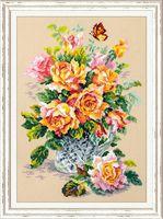 """Вышивка крестом """"Чайные розы"""" (240x340 мм)"""