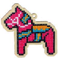 """Алмазная вышивка-мозаика """"Брелок. Игрушечная лошадка"""" (89х89 мм)"""