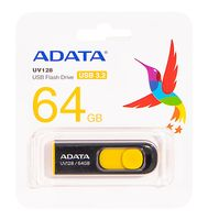 USB Flash Drive 64Gb A-Data UV128 USB 3.0 (Black/Yellow)