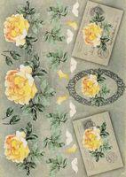 """Бумага для декупажа рисовая """"Желтые розы и узорные рамки"""" (210х300 мм)"""