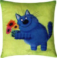 """Подушка """"Поздравление кота"""" (35x35 см; зелёная)"""