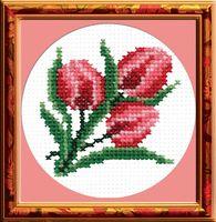 "Вышивка крестом ""Тюльпаны"" (80x80 мм)"