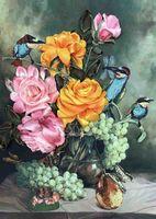 """Вышивка лентами """"Цветочный нектар"""" (265х340 мм)"""