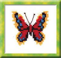 """Вышивка крестом """"Бабочка красно-желтая"""""""
