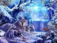 """Канва с нанесенным рисунком """"Волчата"""""""