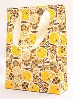 "Пакет бумажный подарочный ""Liberty Flowers"" (23,5х17х7 см; оранжевые элементы)"